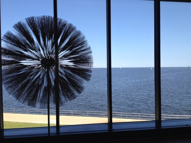 Harry Bertoia's Dandelion in a nook with a view.