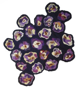 """Rosa Bianca Heirloom Eggplant"", 32 x 28 inches, fabric thread, 2011.  Image courtesy of Kim Guare."